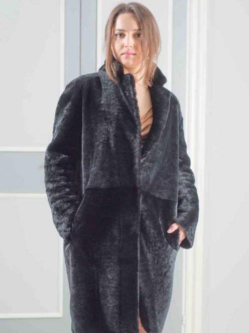cappotto montone merino nero oversize