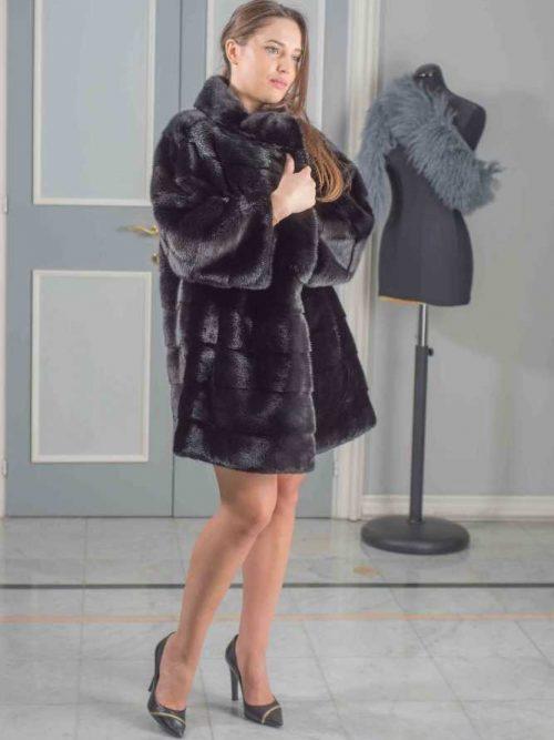 giaccone visone orizzontale nero oversize