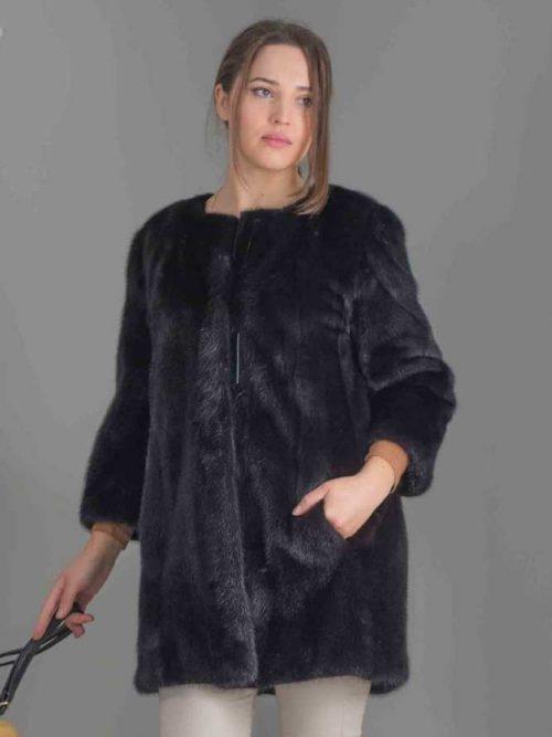 giaccone visone nero