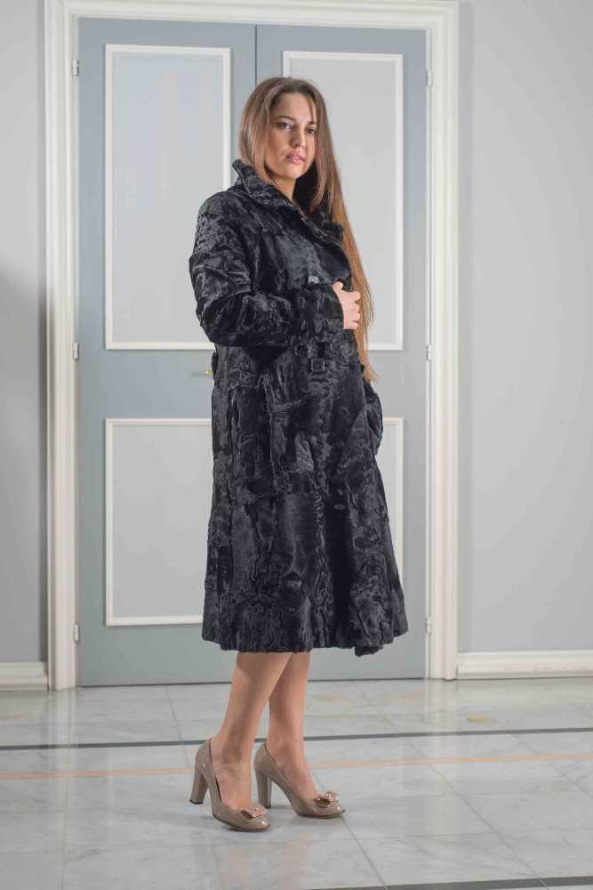 cappotto impero agnello persiano nero