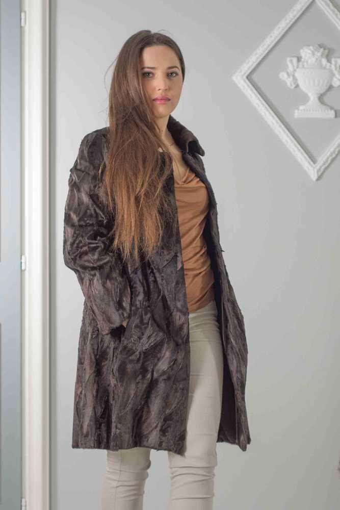 cappottino agnello persiano sciancrato marrone
