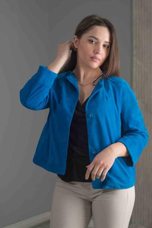 camicia scamosciato blu donna