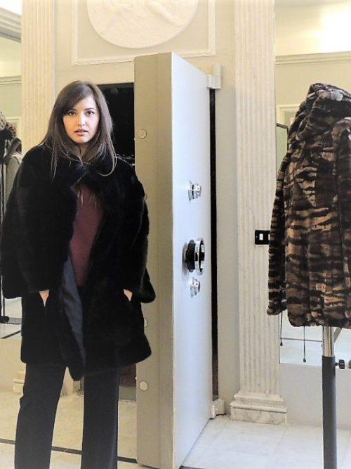giaccone visone oversize nero