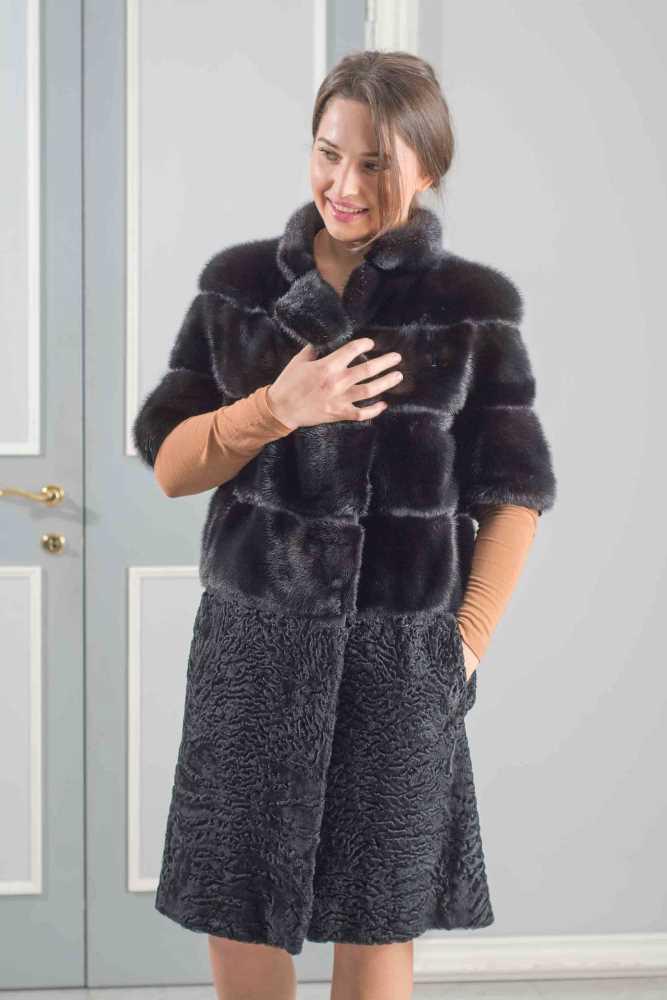 giacca visone manica tre quarti