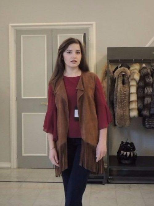 giacca smanicata scamosciato donna