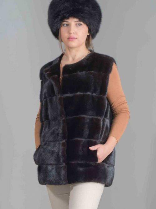 giacca smanicata visone orizzontale
