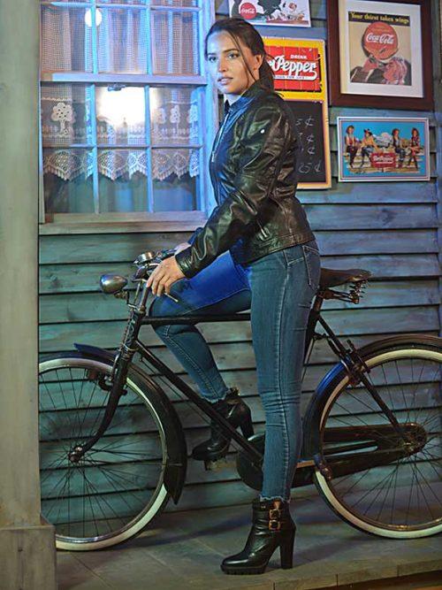 Biker in Nappa Nera Donna